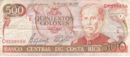 BILLETE DE COSTA RICA DE 500 COLONES AÑO 1987 SERIE C  (BANKNOTE) - Costa Rica