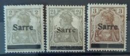 SARRE / SAARGEBIET 1920 - MLH - Mi 1, 2, 3 - Nuevos