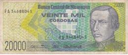 BILLETE DE NICARAGUA DE 20000 CORDOBAS DEL AÑO 1989 (BANK NOTE) - Nicaragua