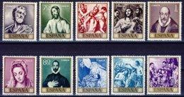 "1961-(MNH=**) Spagna S.10v.""Giornata Del Francobollo,dipinti Di El Greco"" - 1931-Today: 2nd Rep - ... Juan Carlos I"