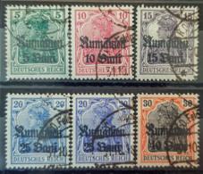 ROMANIA UNDER GERMAN OCCUPATION 1918 - Canceled - Mi 8, 9, 10, 11 (2x), 12 - Ocupación 1914 – 18
