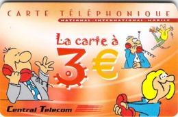 Carte Prépayée -  CENTRAL TELECOM LA CARTE A 3  € - - Frankrijk