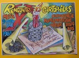 8886 - 10e Rencontres Cartophiles Metz 1988 Ilustration Bernard Ferreira Signature Autographe De L'artiste - Bourses & Salons De Collections