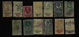 Great Britain Revenue Perfins Lot Of 13 - Fiscales