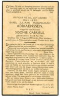 Dp. Adriaenssen Karel. Echtg. Gabriëls Sidonie. ° Geel 1901 † Geel 1933 - Religión & Esoterismo