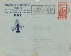 514 - STORIA POSTALE-BUSTA PUBBLICITARIA-ROMEO CAMERINI- DDT - IV FIERA DI TRIESTE - 1952 - AMG-FTT - TRIESTE PER SAVONA - 6. 1946-.. Republic