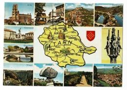PP 461 - En Parcourant Le Tarn - Contour Géographique Illustrée & Multivues, 11 Vues & Blason - Pas Circulé - Landkaarten