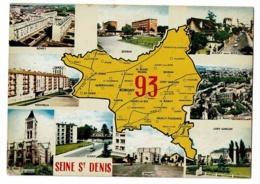 Seine Saint Denis - Contour Géographique Dessiné, Multivues, 9 Vues - Pas Circulé - Landkaarten