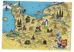 """Les Provinces Françaises - 8 - Normandie - Contour Géographique Illustré """"Homualk"""", Blason - Pas Circulé - Landkaarten"""