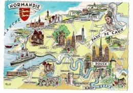 """Les Provinces Françaises - 4 - Normandie, Pays De Caux - Contour Géographique Illustré """"Homualk"""", Blason - Pas Circulé - Landkaarten"""