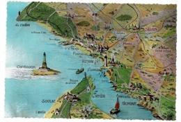 10.425 - Cotes Saintonge Et Pointe Du Médoc - Contour Géographique Illustré - Pas Circulé - Landkaarten