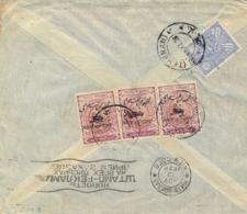 Iran Persia 1928 Airmail Cover To France Via Russia With 15 Ch. Reza Shah Pahlavi + 3 X 10 Ch. Airmail Stamps - Irán