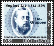 """LIE, S. - Lie Groups, Continuos Symmetry Groups - Liechtenstein 2014, MNH ** - Mathematician,  Mathematics - """"die Marke"""" - Sciences"""