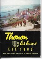 74 - Thonon-les-Bains - Guide Touristique Eté 1962 - Turismo