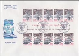 Monaco 1988 FDC Europa CEPT Souvenir Sheet (LAR8-44) - Europa-CEPT