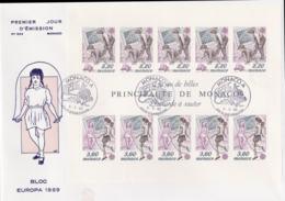 Monaco 1989 FDC Europa CEPT Souvenir Sheet (LAR8-44) - Europa-CEPT