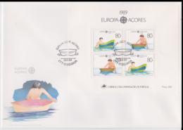 Acores 1990 FDC Europa CEPT Souvenir Sheet (LAR8-44) - 1989