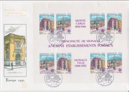 Monaco 1990 FDC Europa CEPT Souvenir Sheet (LAR8-44) - Europa-CEPT
