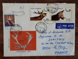 ROUMANIE, Canidés, LOUP, Cerf, Yvert N°2982+2978 Sur Lettre Ayant Circulé En 1976 Pour Le PECQ En France - Sellos