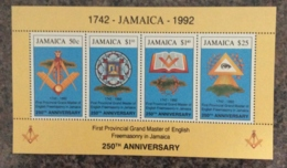 Jamaica 1992 250th Grand Master Freemasonary Sheet MNH - Jamaica (1962-...)