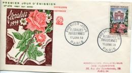 FRANCE Enveloppe Premier Jour - FDC 1959 N° 1189 Floralies Parisiennes - Arc De Triomphe Du Carrousel à Paris - 1950-1959