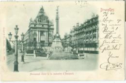 Bruxelles 1900; Monument élevé à La Memoire D'Anspach - Voyagé. (Stengel & Co. - Dresden) Carte Relief - Bauwerke, Gebäude