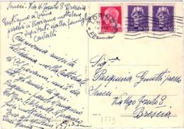 1945- Cartolina Torino Piazza Carlo Felice Giardini Affrancata 20c.+coppia 50c. Imperiale Senza Fasci - Italy