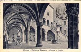 1945- Cartolina Firenze Palazzo Pretorio Cortile Scala,affrancata Monumenti Distrutti L.1,20 Soprastampato Isolato - Firenze (Florence)