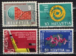 SVIZZERA - 1961 - SERIE DI PROPAGAND: ASSISTENZA TECNICA, HYSPA '61, HOCKEY SU GHIACCIO, TELEFONO AUTOMATICO - USATI - Usati