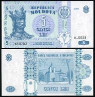 Moldova 5 Lei. 2005 Unc. Banknote Cat# P.9d - Moldova