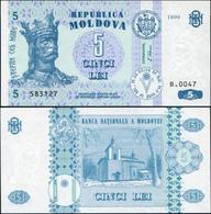 Moldova 5 Lei. 1999 Unc. Banknote Cat# P.9c - Moldova