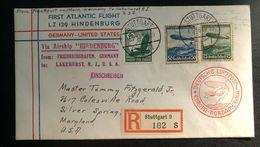 1936 Stuttgart Germany Hindenburg Zeppelin LZ 129 Cover To Lake Hurst NJ USA - Germany