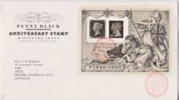 Great Britain 1990 Penny Black Anniversary Minisheet FDC - FDC