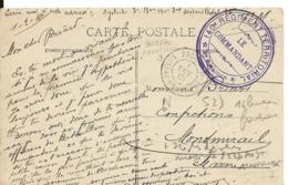 Guerre 14 18 CAD Postes Bureau Frontière N Du 1.2.1915 + Cachet Violet 140° Régiment Territorial 8ème Bataillon Cpa D..H - Marcophilie (Lettres)