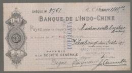 1925 CHECK / CHEQUE DE LA BANQUE DE L'INDOCHINE INDO-CHINE AGENCE DE PEKIN PEIKING BEIJING E28 1 - Cheques En Traveller's Cheques