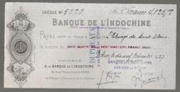 1927 CHECK / CHEQUE DE LA BANQUE DE L'INDOCHINE INDO-CHINE AGENCE DE PEKIN PEIKING BEIJING E28 3 - Cheques En Traveller's Cheques