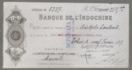 1927 CHECK / CHEQUE DE LA BANQUE DE L'INDOCHINE INDO-CHINE AGENCE DE PEKIN PEIKING BEIJING E28 5 - Cheques En Traveller's Cheques