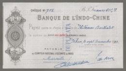 1922 CHECK / CHEQUE DE LA BANQUE DE L'INDOCHINE INDO-CHINE AGENCE DE PEKIN PEIKING BEIJING E28 2 - Cheques En Traveller's Cheques