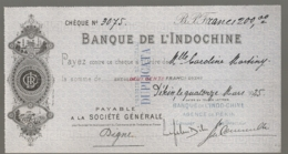1927 CHECK / CHEQUE DE LA BANQUE DE L'INDOCHINE INDO-CHINE AGENCE DE PEKIN PEIKING BEIJING E28 4 - Cheques En Traveller's Cheques