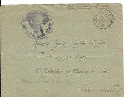 Guerre 14 18 CAD Postes Bureau Frontière M + Cachet Violet Bleu Commissaire Militaire Pour LUCON    ..H - Guerra De 1914-18