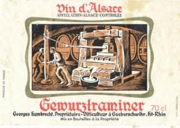 Etiquettes  Vin -B3720-Gewürtztraminer Gueberschwihr  (Vignoble, Millésime, état;...se Référer Au  Scan)-Envoi Gratuit - Gewurztraminer