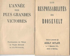 Ww2 Adolphe Hitler 1941 Lot 2 Propagandes Proclamations Du Führer & Discours Reichstag Imp Charaire à Sceaux - Documents