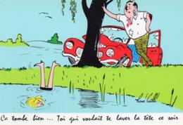 """ILLUSTRATEUR RENÉ CAILLE. SÉRIE CONDUITE AUTO """" ça Tombe Bien Toi Qui Voulait Te Laver La Tête Ce SoiCPM 1966 Impeccable - Andere Illustrators"""