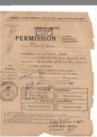 Permission Officier-marinier 1946 - Unité Marine Alger - Visa à L'arrivée Gendarmerie Equeurdreville - Documents