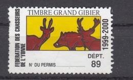 FISCAL PERMIS DE CHASSE - TIMBRE GRAND GIBIER 1999-2000 - FEDERATION 89 YONNE - HUNTING REVENUE - Fiscaux
