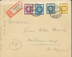 R-Brief Dresden Altstadt OPDDreden 15, 20, 25 ,40 Pfg Geschnitten Rs: Hartmannsdorf 29.10.1945 Beschädigt [KE-GR-02] - Zone Soviétique