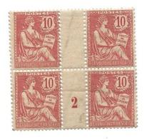 Timbres N° 124 MOUCHON Bloc De 4 Millésime 2 Rare Double Impression Verso Sur Les 2 Timbres Supérieurs .....H - Varietà: 1900-20 Nuovi