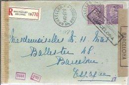 LETTER RECOMANDEE 1943  CENSOR BARCELONA - Belgium