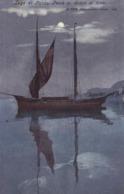 Lago Di Garda * Pesca Al Chiaro Di Luna, Segelboot, Schiffe, Mond, Dolomiten, Alpen * Italien * AK1498 - Trento