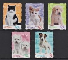 Australia 2004 Cats & Dogs Set Of 5 Self-adhesives Used - 2000-09 Elizabeth II